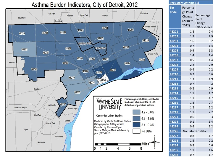 City Of Detroit Zip Code Map.Asthma Drawing Detroit