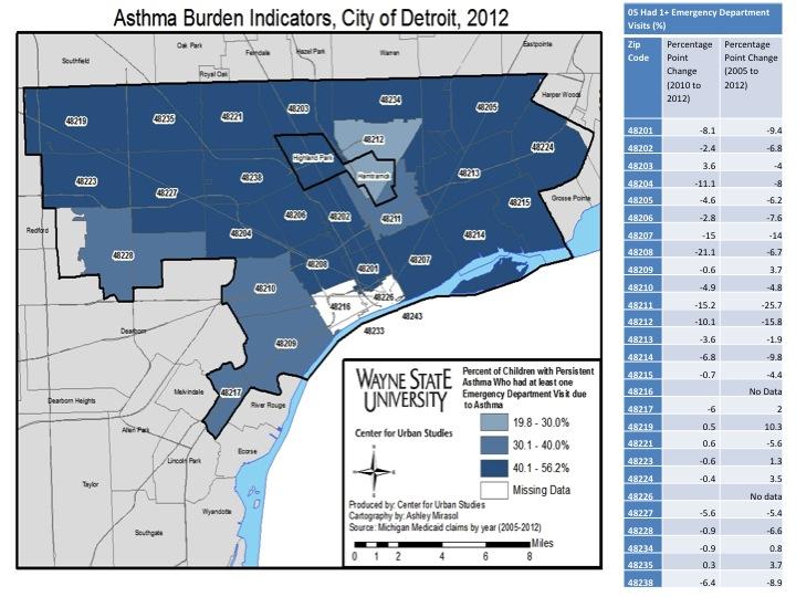 48201 Zip Code Map.Asthma Drawing Detroit