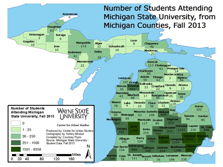 unlike uofm and wsu where the largest geographic representation comes from the universities home counties michigan state university drew the majority of